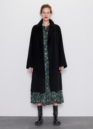 Шерстяное пальто zara handmade з поясом  - xs  шерсть