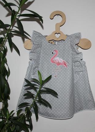 Топ для девочки розовый фламинго тренд 2020, школьная блузка горох, детская туника