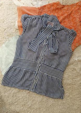 Крепдешиновая блузка в полоску , l.
