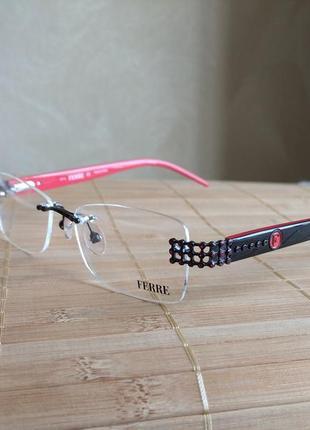 Фирменная винтовая безободковая оправа под линзы,очки оригинал g.ferre gf33901