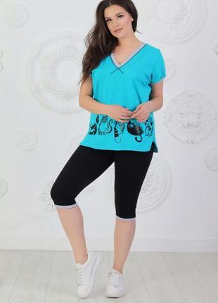 Летний женский костюмчик из трикотажа спортивного стиля (кошки-лето)4 фото