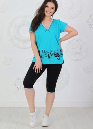Летний женский костюмчик из трикотажа спортивного стиля (кошки-лето)