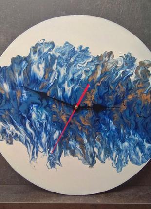 Часы в стиле fluid art ручная работа
