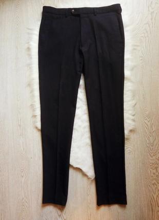 Черные мужские классические офисные теплые шерстяные брюки штаны зимние синие
