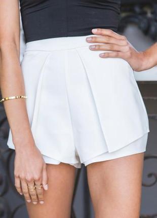 🎁1+1=3 шикарные белые нарядные шорты с высокой посадкой luvalot, размер 42 - 44