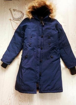 Арктическая зимняя синяя парка куртка (на темп.-40) на футболку canada goose с мехом пером