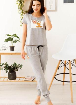 Mito гарфилд серая женская хлопковая пижама футболка и штаны