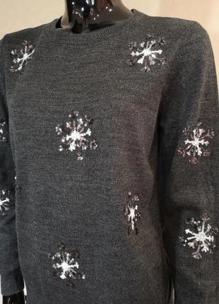 Новогодний свитер джемпер с пайетками dorothy perkins4 фото