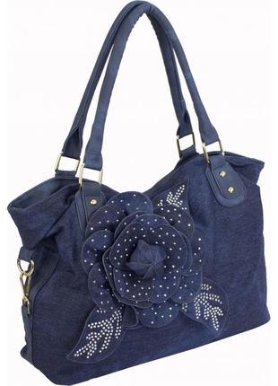 Джинсовая сумка вместительная с цветком