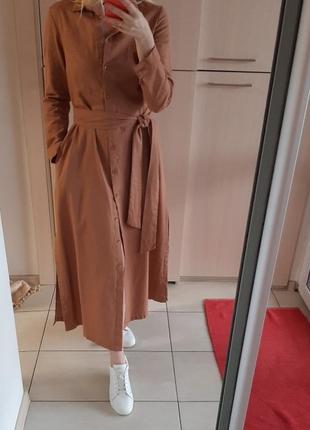 Платье-рубашка лен