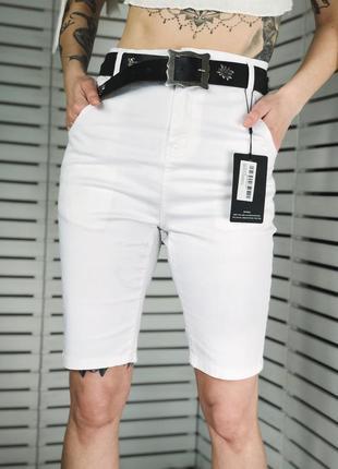 Белые джинсовые велосипедки