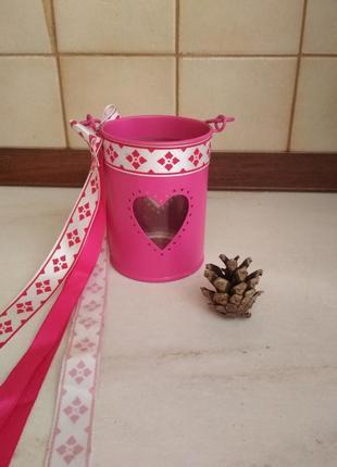 Романтичный розовый нежный подсвечник фонарик с ленточками и сердечком