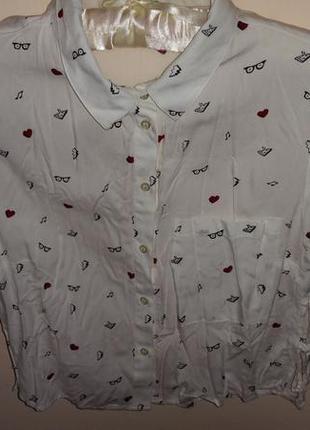 Bershka блуза укороченная на пуговицах