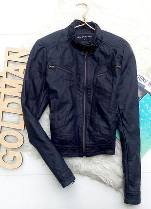 Темно-синяя кожаная куртка expresso