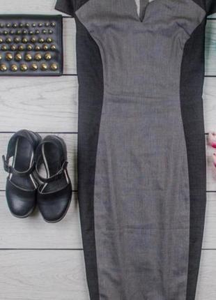 Офисное платье футляр миди чёрно-серое  next ,размер 50/xl