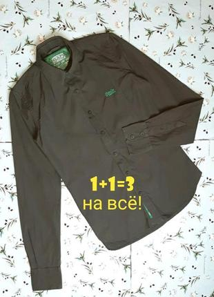 🎁1+1=3 оригинальная коричневая рубашка с длинным рукавом superdry, размер 42 - 44