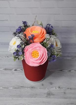 Букет цветов из мыла ранункулюс