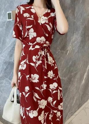 Красивое летнее красное платье
