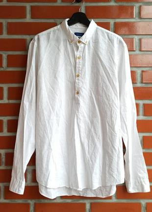 Zara man белая льняная рубашка размер xl
