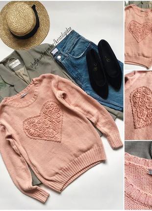 Стильный розовый свитер джемпер с сердцем р. s