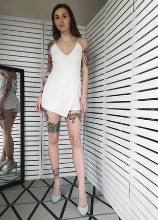Белый комбинезон комбез ромпер с шортами6 фото