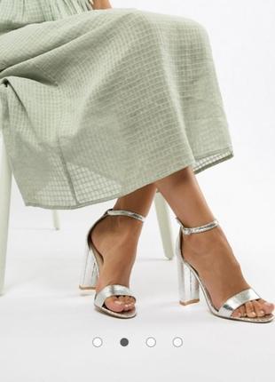 Серебристые босоножки на блочном каблуке асос asos glamorous