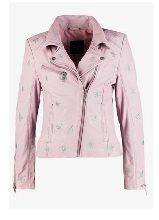 Новая кожаная косуха розовая с вышивкой maze, германия микро нюанс куртка
