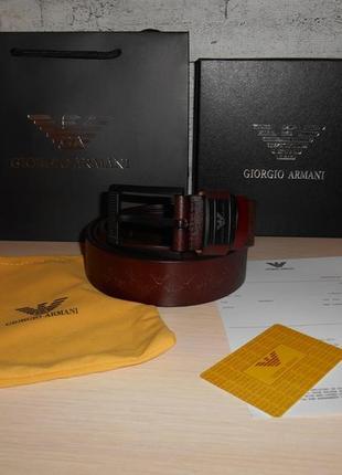 Мужской ремень пояс armani, кожа, италия, оригинал  222