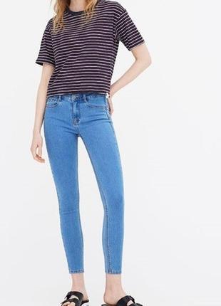 Джинсы штаны синии голубые pull&bear скинни низкая посадка