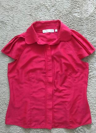 Малиновая блуза рубашка manson котон+шелк , р.xl