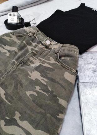 Хлопковая милитари юбка