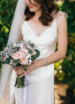 Шёлковое нежное свадебное платье в стиле 30х