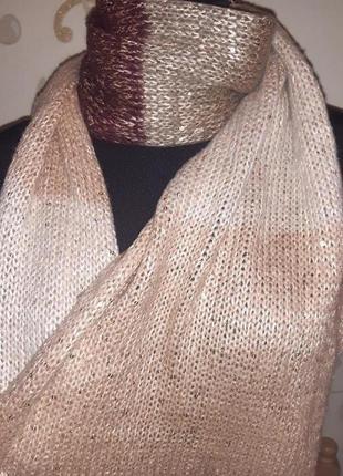 Золотистий теплий шарф паєтки