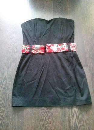 Черное платье-бандо в японском стиле