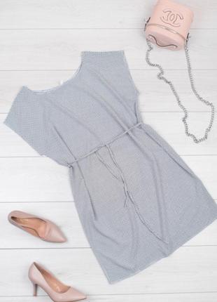 Летнее легкое платье с пояском, размеры батал