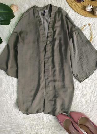 Легкая свободная пляжная накидка кимоно цвета хаки1 фото