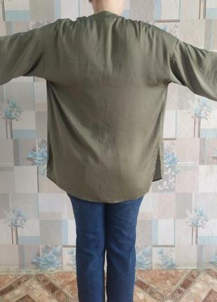 Легкая свободная пляжная накидка кимоно цвета хаки4 фото