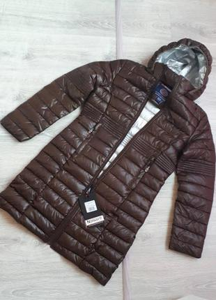 Новое термо пальто geographical norway куртка парка шоколадный глянец пуховик