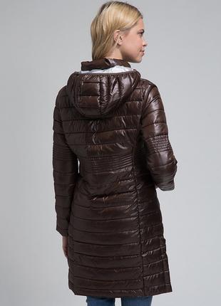 Новое термо пальто geographical norway куртка парка шоколадный глянец пуховик4 фото