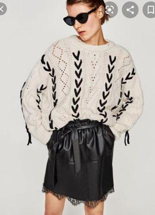 Кожаная юбка с кружевом zara