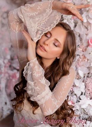 Невероятно женственное ажурное молочное платье zara  m/l