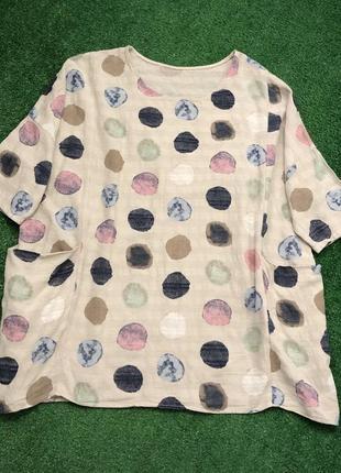 Натуральная блуза в стиле бохо большого размера батал футболка блузка туника