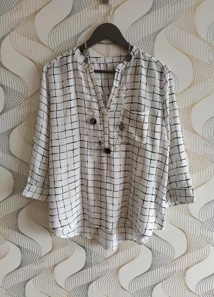 Супер стильная блузка в крупную клетку