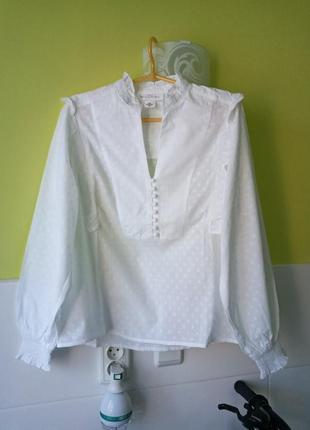 Белая рубашка блуза блузка в горошек h&m