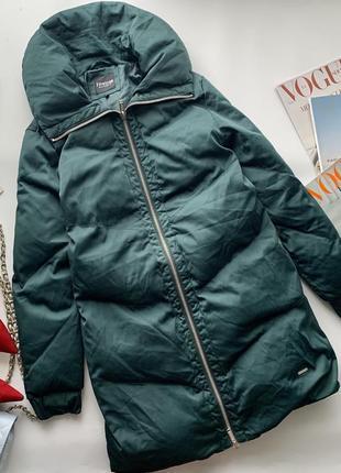 Шикарный изумрудный пуховик / зеленая куртка пух /длинная зеленая