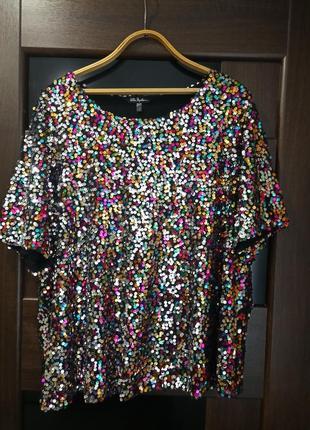 Роскошная туника, блузка ulla popken в паетках на любое торжество