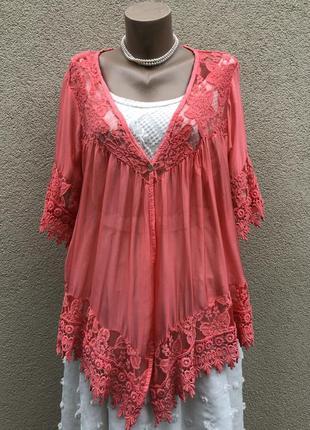 Шелковый кардиган в бельевом стиле, блуза,кружево,этно бохо стиль,