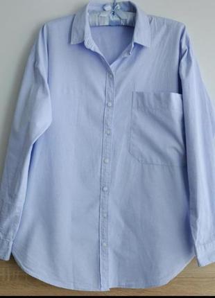 Голубая льяная рубашка с карманом оверсайз, бойфренд, сорочка, блузка, лен