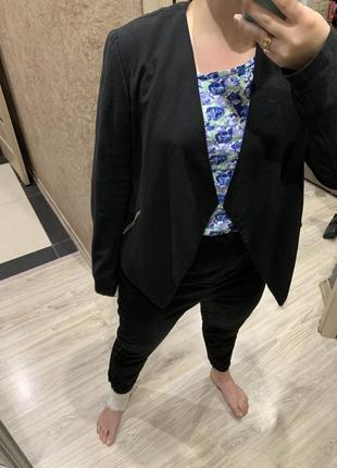 Пиджак жакет   женский чёрный с отложным  воротником легкий без застежки h&m4 фото