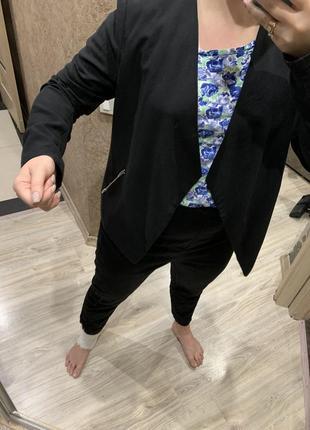 Пиджак жакет   женский чёрный с отложным  воротником легкий без застежки h&m6 фото